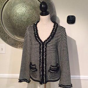 White House Black Market black/white tweed sweater